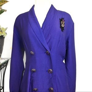 Vintage Dresses - Vintage Double Breasted Bluish Purple Dress